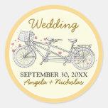 {FP} Tandem Bicycle Wedding Invite Seal (yellow) Sticker