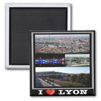 FR - France - Lyon - I Love - Collage Square Magnet