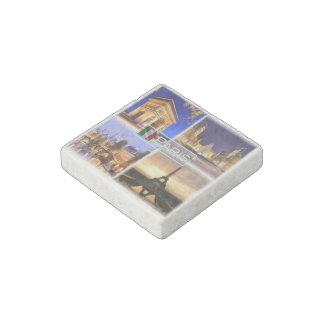 FR France Paris By Night - Arc de Triomphe - Tour Stone Magnet