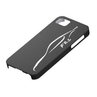 FR-S White Brushstroke on Faux Carbon FIber iPhone 5 Covers