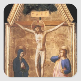 Fra Angelico- Crucified Christ with the Virgin Square Sticker