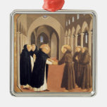 Fra Angelico-Meeting of Sts. Dominic & Francis Silver-Colored Square Decoration
