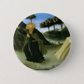 Fra Angelico- St Anthony Tempted by a Lump of Gold 6 Cm Round Badge