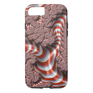 Fractal Abstract Red White Stripes Background iPhone 7 Case