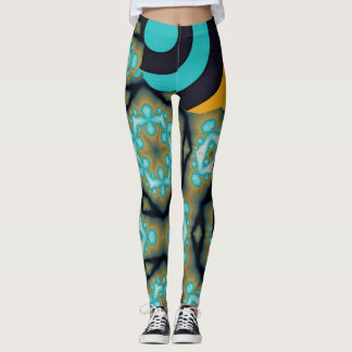 Fractal and geometric pattern in turquoise orange leggings