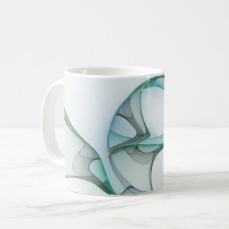 Fractal Art Blue Turquoise Gray Abstract Elegance Coffee Mug