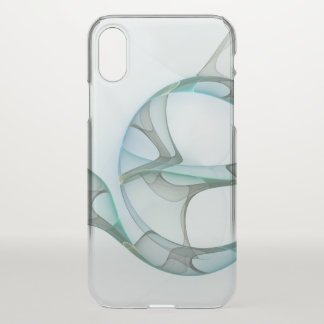 Fractal Art Blue Turquoise Gray Abstract Elegance iPhone X Case