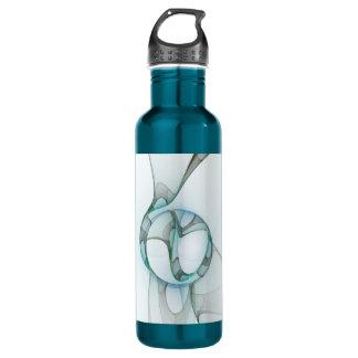 Fractal Art Blue Turquoise Grey Abstract Elegance 710 Ml Water Bottle