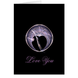 Fractal Art Circle with Heart Card