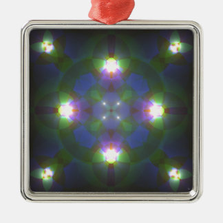 Fractal Art Silver-Colored Square Decoration