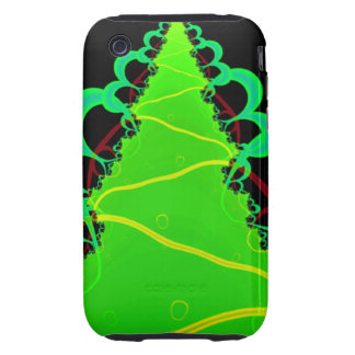Fractal Art in Green and Black iPhone 3 Tough Cover