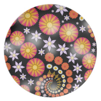 Fractal Art Orange Pink Flowers Plates