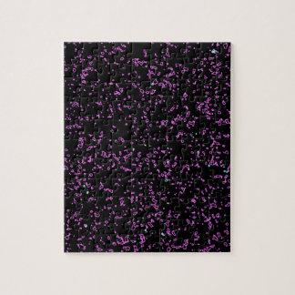 Fractal Art Purple Pink Glitter Patterns Black Jigsaw Puzzle