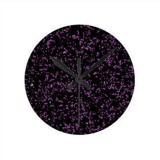 Fractal Art Purple Pink Glitter Patterns Black Round Clock