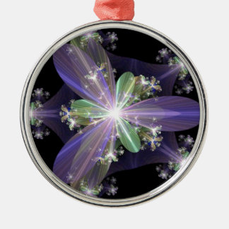 Fractal Art Silver-Colored Round Decoration