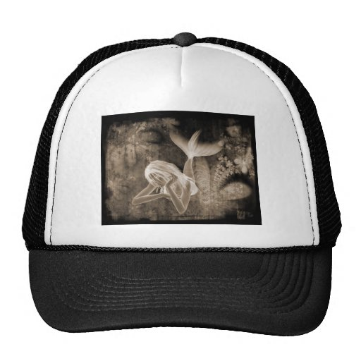 Fractal Background 3D Mermaid Brown Negative Hat