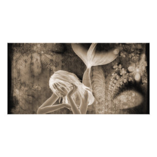 Fractal Background 3D Mermaid Brown Negative Personalized Photo Card