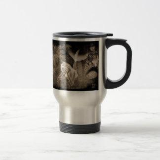Fractal Background 3D Mermaid Brown Negative Travel Mug