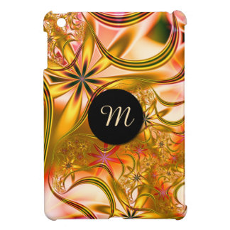 Fractal Blossoming Gold Monogram iPad Mini Covers