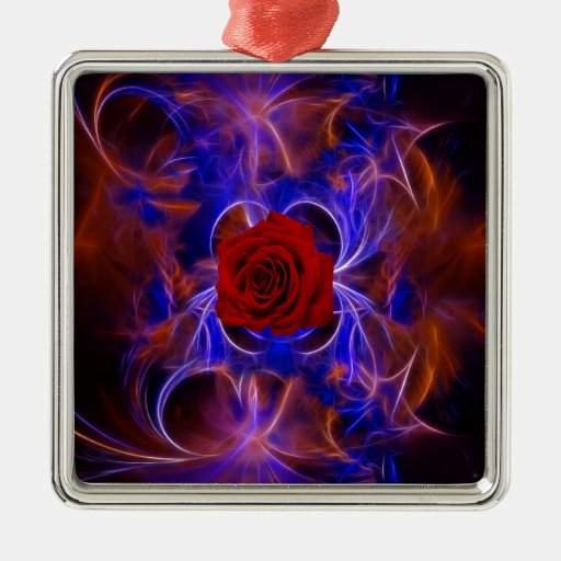 Fractal blue and red rose christmas ornament