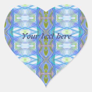 fractal blue ethnic pattern. heart sticker