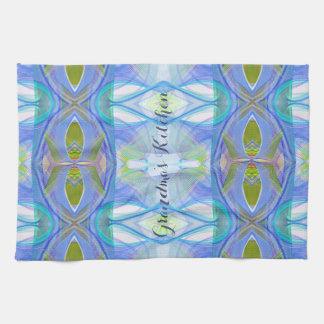 fractal blue ethnic pattern. tea towel