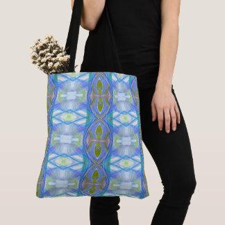 fractal blue ethnic pattern. tote bag
