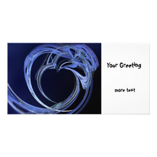 Fractal Blue Heart Customised Photo Card