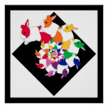 Fractal Bunnies Square Poster