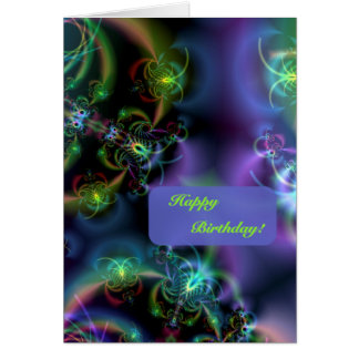 Fractal Butterflies Happy Birthday Card