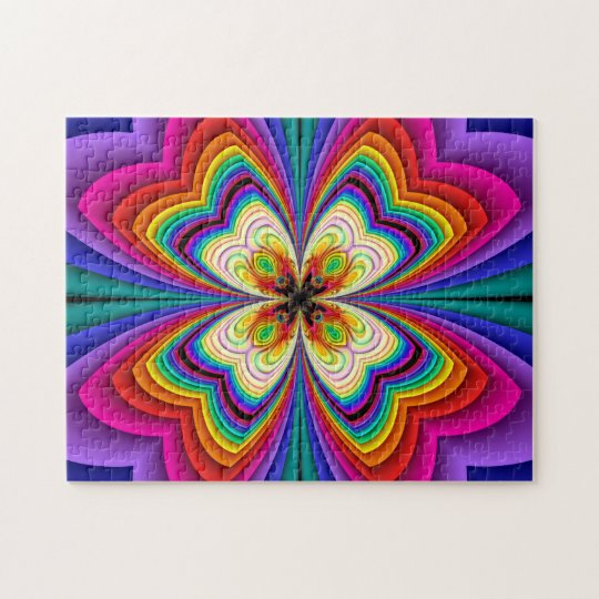 Fractal Butterfly Rainbow Jigsaw Puzzle