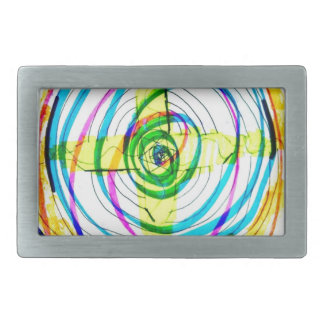 Fractal Cartoids Crosses and the Spiral Band by Lu Rectangular Belt Buckle