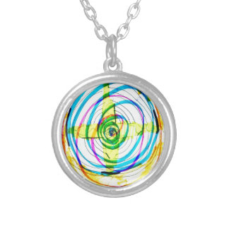 Fractal Cartoids Crosses and the Spiral Band by Lu Silver Plated Necklace