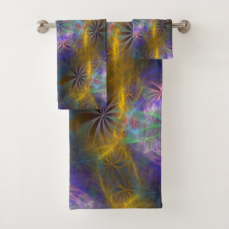 "Fractal ""Daisy chain reaction v3 Bath Towel Set"