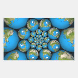 Fractal Earth Rectangular Stickers