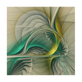 Fractal Evolution, Golden Turquoise Abstract Art