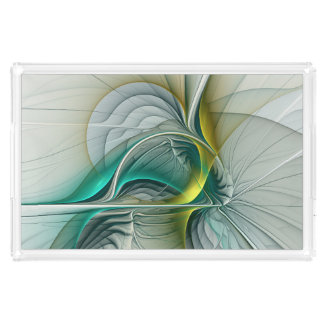 Fractal Evolution, Golden Turquoise Abstract Art Acrylic Tray