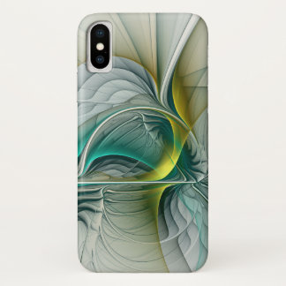 Fractal Evolution, Golden Turquoise Abstract Art iPhone X Case