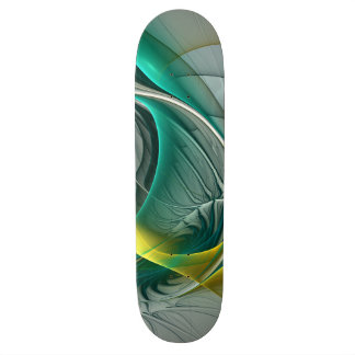 Fractal Evolution, Golden Turquoise Abstract Art Skateboard
