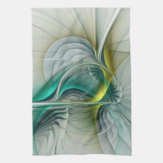 Fractal Evolution, Golden Turquoise Abstract Art Tea Towel