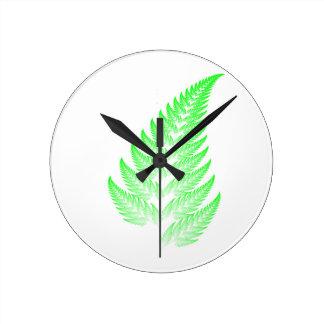 Fractal fern leaf round clock