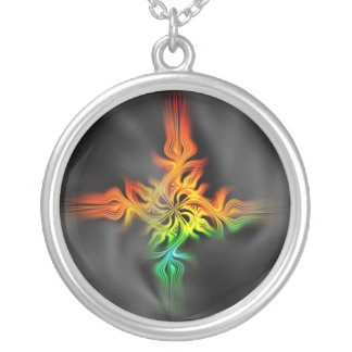 Fractal Flame Silver Plated Necklace