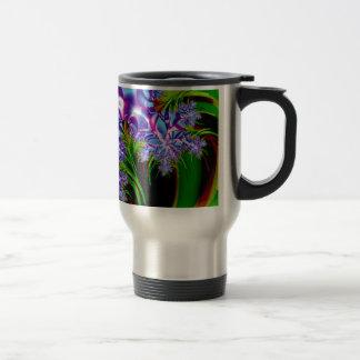 Fractal flowers travel mug
