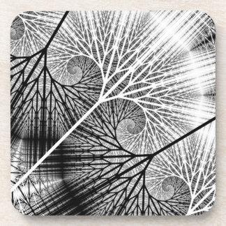 Fractal Forest Mystical Transparent Spiral Pattern Beverage Coasters