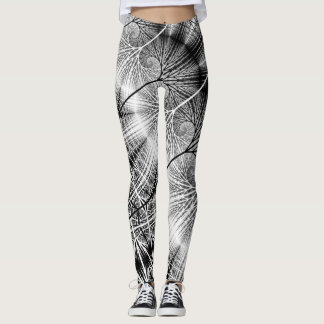 Fractal Forest Mystical Transparent Spiral Pattern Leggings