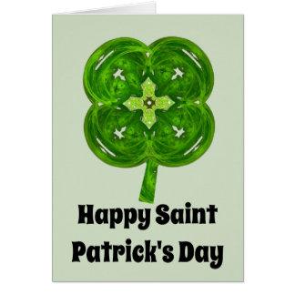 Fractal Four Leaf Clover Happy St Patrick's Day Card
