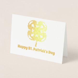 Fractal Four Leaf Clover Happy St Patrick's Day Foil Card