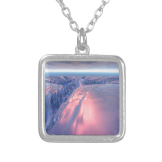 Fractal Glacier Landscape Silver Plated Necklace