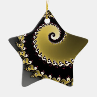 Fractal. Gold, silver, black. Ceramic Ornament