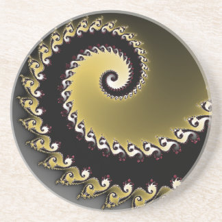 Fractal. Gold, silver, black. Coaster